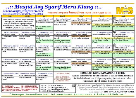 Jadual Tazkirah Ramadhan 1434H Surau-Surau di Meru (Updated 22/7/2013)