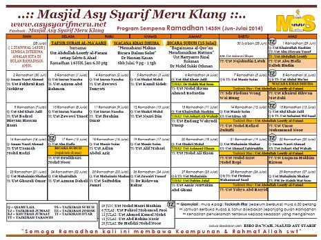 Jadual Tazkirah Ramadhan MAS 1435H