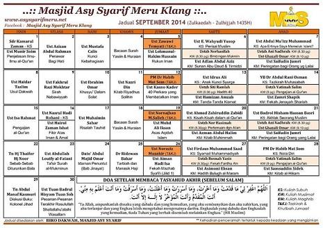 JADUAL MAS - 09-2014