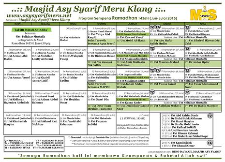 JADUAL MAS - ramadhan-2015