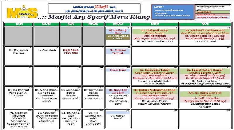 Jadual Kuliah/Pengajian Bulan Julai 2016