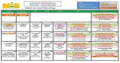 Jadual Kuliah/Pengajian Bulan Januari 2017