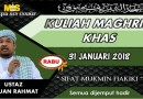 Kuliah Maghrib Khas – Rabu 31 Jan 2018