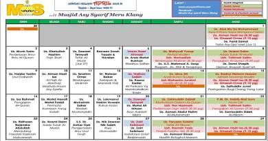 Jadual Kuliah/Pengajian Bulan Apr 2018