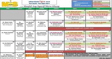 Jadual Kuliah/Pengajian Bulan Ogos 2018