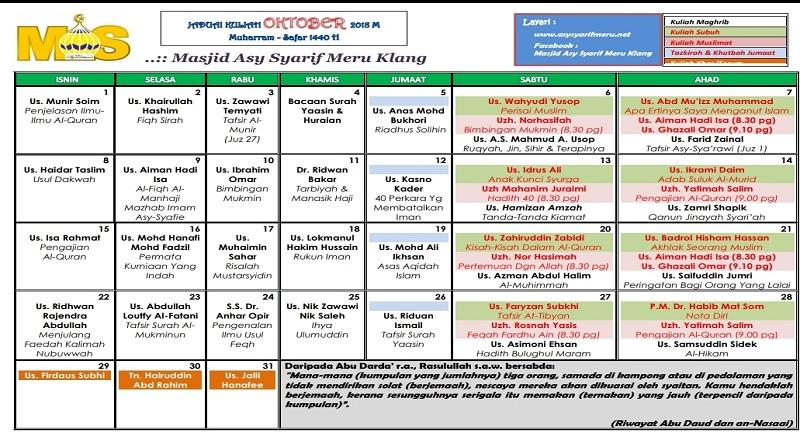 jadual kuliah okt 2018