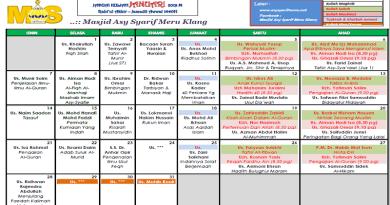 Jadual Kuliah/Pengajian Jan 2019