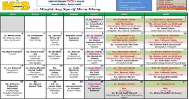Jadual Kuliah Pengajian Bulan Mac 2019