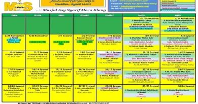 Jadual Kuliah/Pengajian Jun 2019