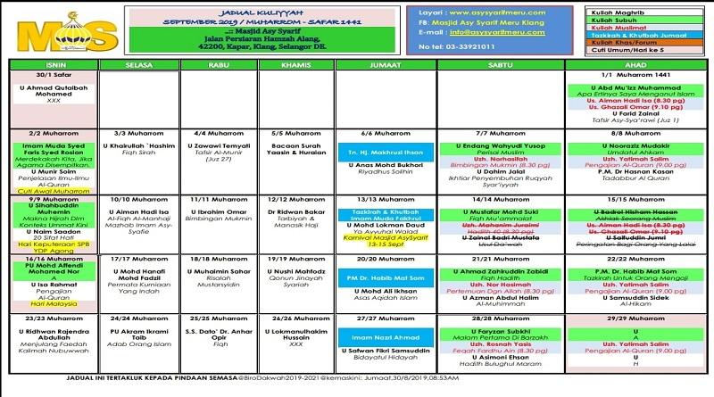 Jadual Kuliah/Pengajian Bulan Sept 2019