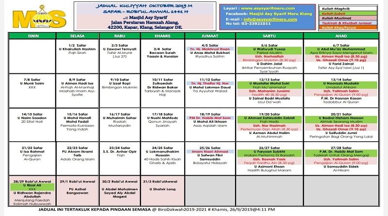 JADUAL MAS OKT 2019