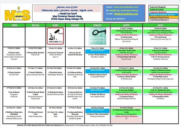 JADUAL MAS - FEB 2020