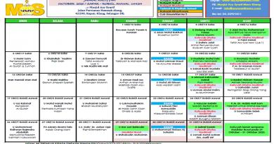 Jadual Kuliah/Pengajian Okt 2020